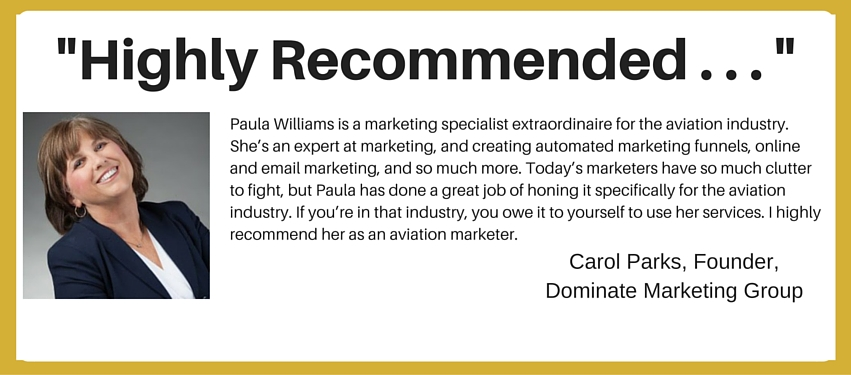 Aviation Sales Training Testimonial - Carol Parks