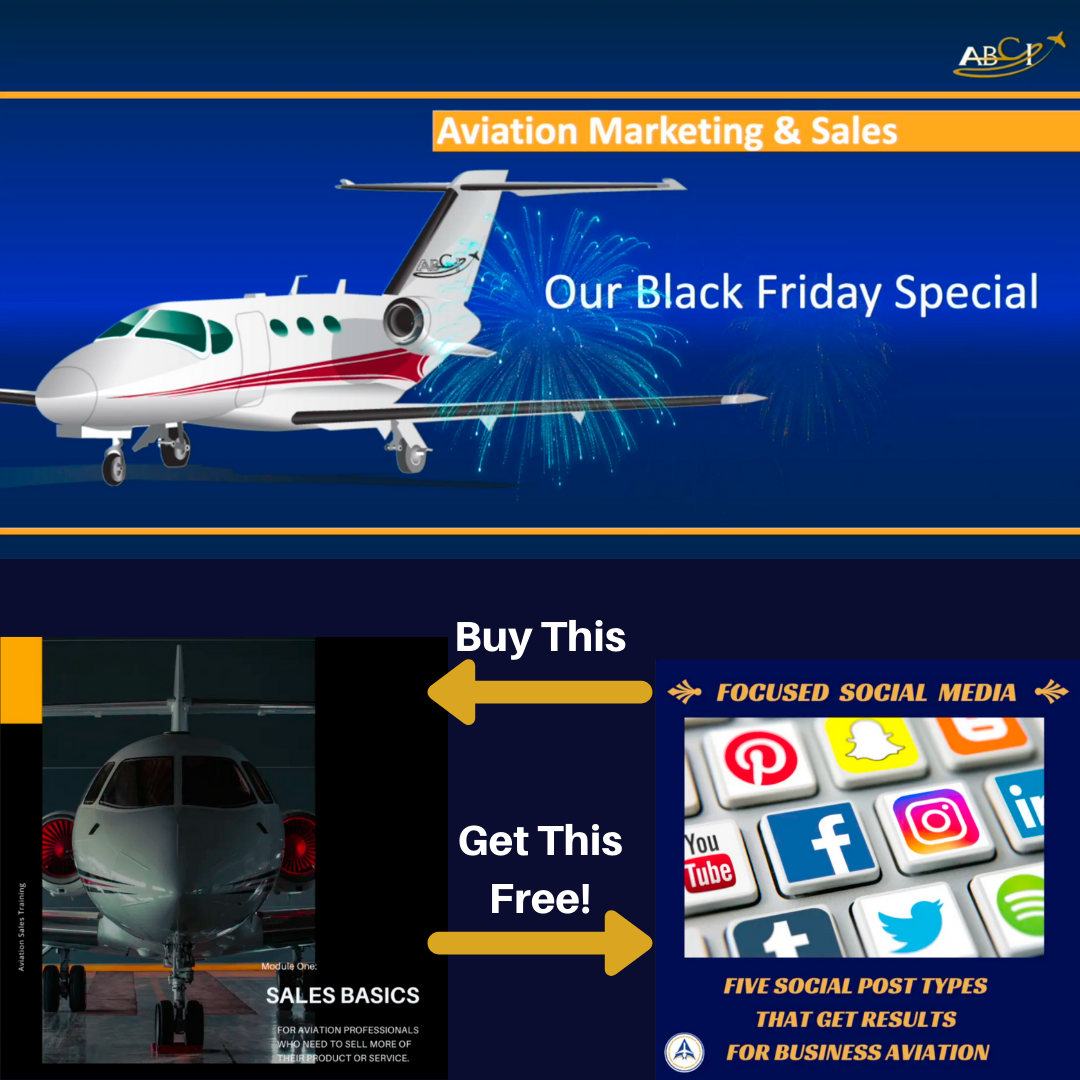 Reserve Your Seat in the Aviation Sales Basics Course, get our Social Media Workshop free!